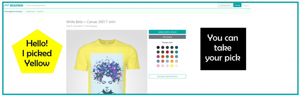 Customize your apparels with mockupmark mockup generator by picking the Color of your choice
