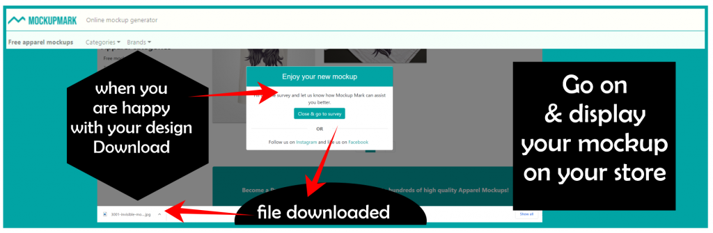 download or save your designs with mockupmark mockup generator